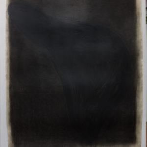 """""""Black hole"""", Léster Rodríguez, 2020, carboncillo sobre papel, 127 x 97 cm"""