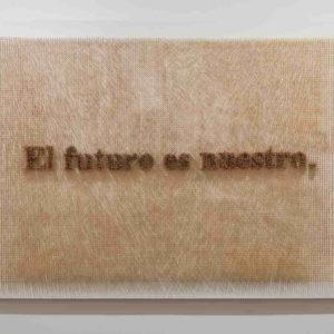 """""""El futuro es nuestro"""", Léster Rodríguez, 2020,  palillos de dientes sobre madera, 123 x 183 x 11 cm"""